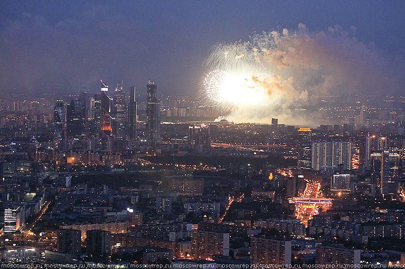Москва, Московский репортаж, 9 мая, салют, День Победы, Останкино, Останкинская телебашня