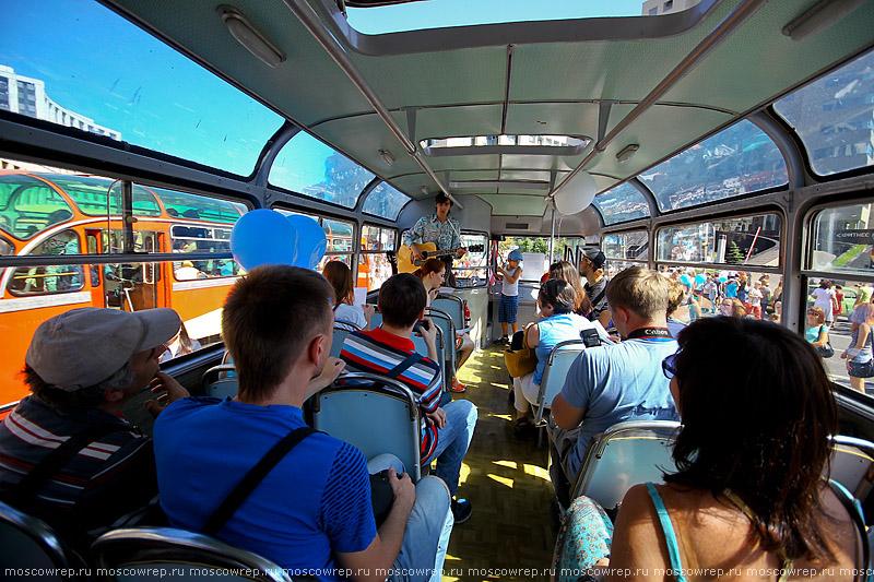 Москва, Московский репортаж, Парад автобусов, Парад ретро-автобусов, 91 год московскому автобусу