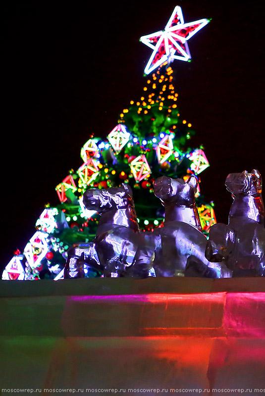 Москва, Московский репортаж, Новый год, Рождественский свет, Рождество, Поклонная гора, Поклонка, Ледяные скульптуры, горка, замок